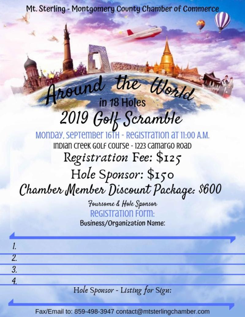 Around the World in 18 Holes 2019 Golf Scramble at Indian Creek Golf Course at 1223 Camargo Road